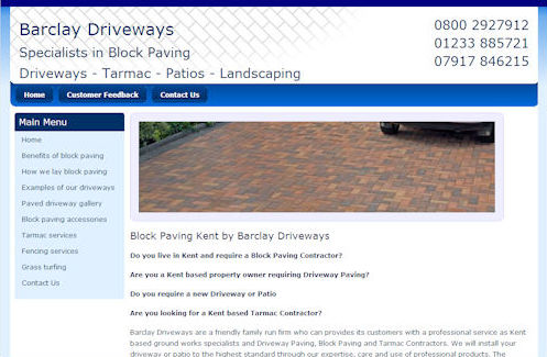 Barclay Drieways Website Design