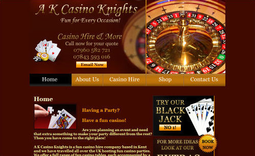A K Casino Knights Website Design