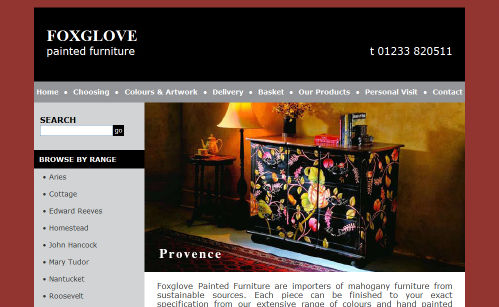 Foxglove Painted Furniture Website Design