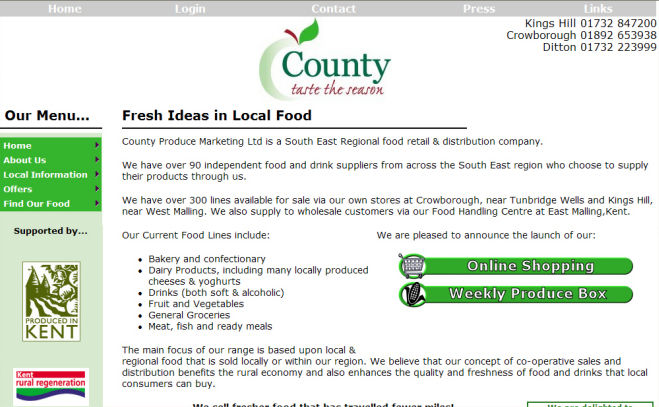 County Produce Website Design