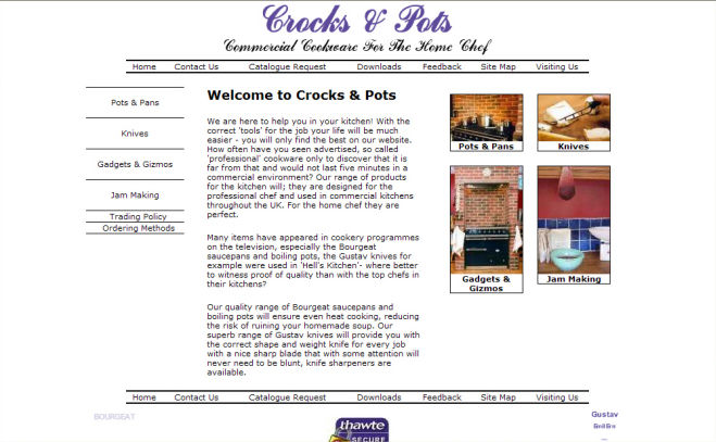 Crocks and Pots Website Design