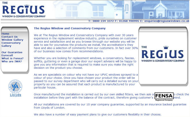 Regius Windows Website Design