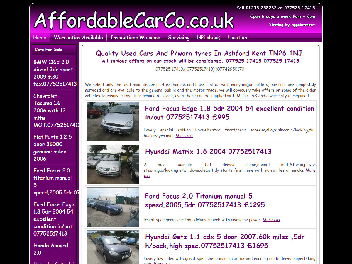 website design Affordable Car Co