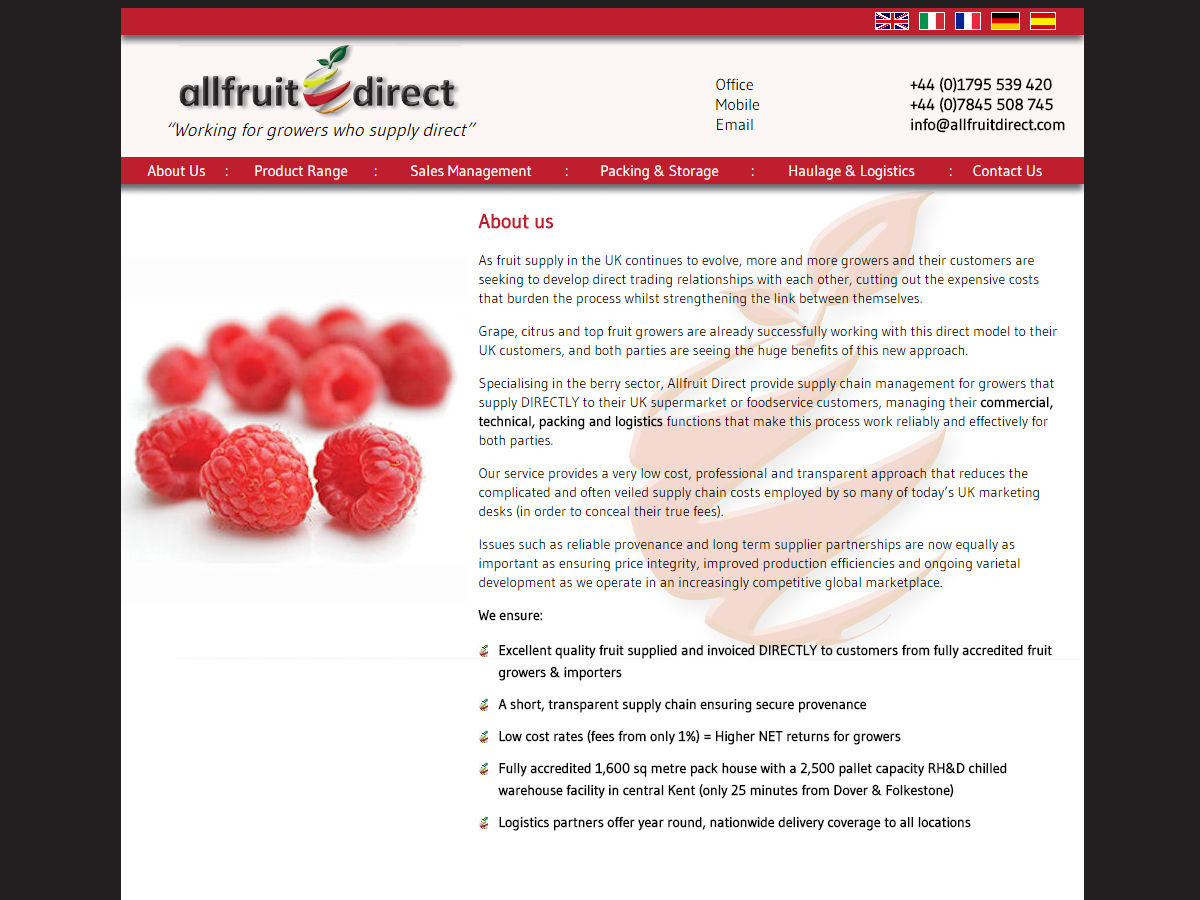 Website Design All Fruit Direct