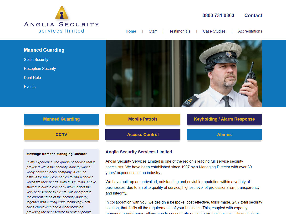 Anglia Security Website Design