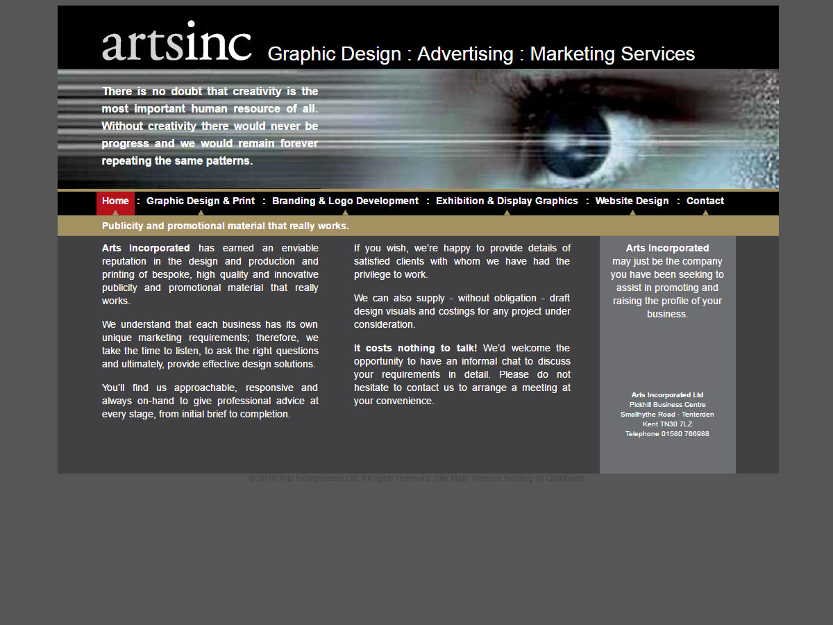 Arts Inc Website Design