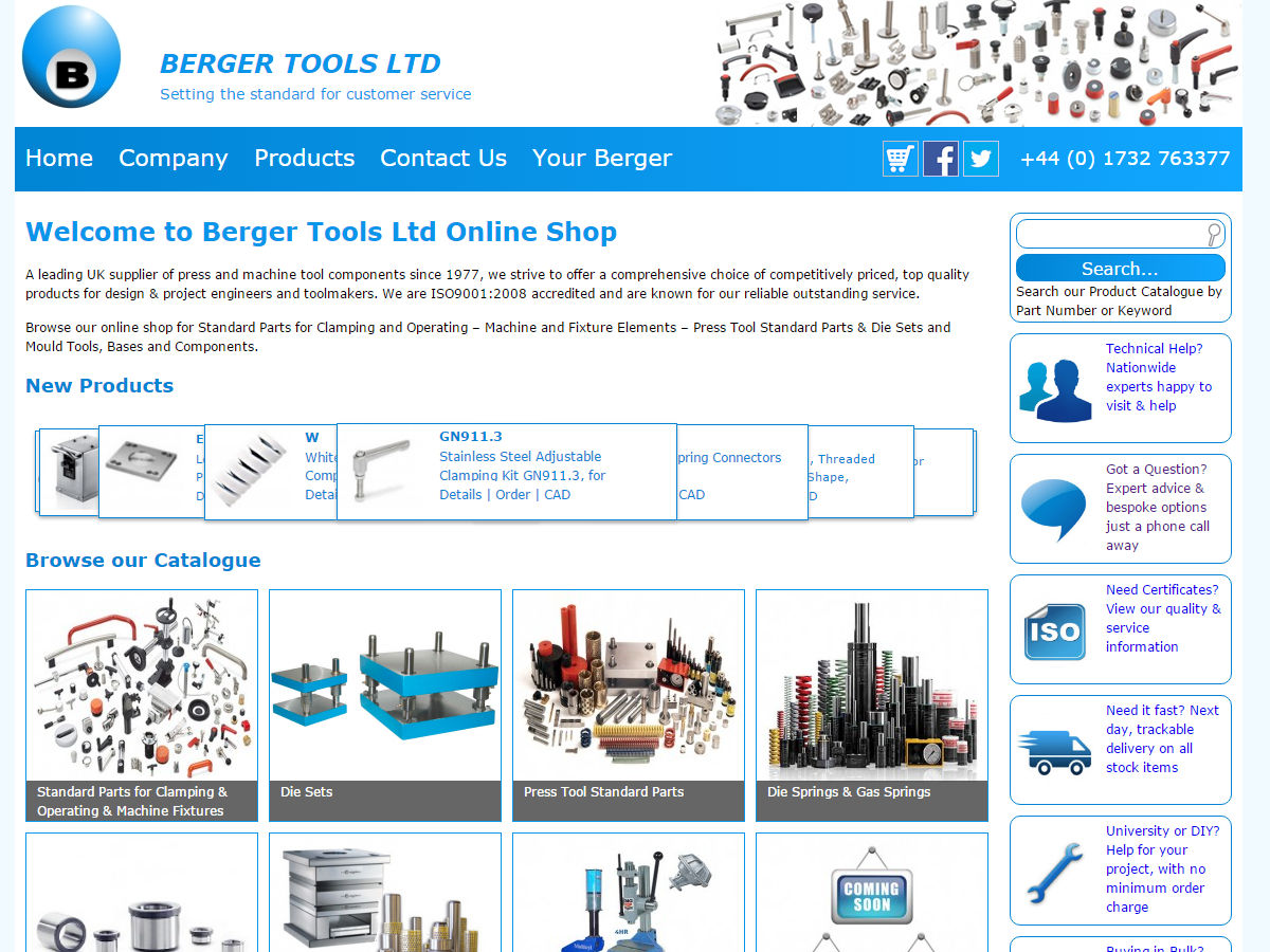 Berger Tools Website Design