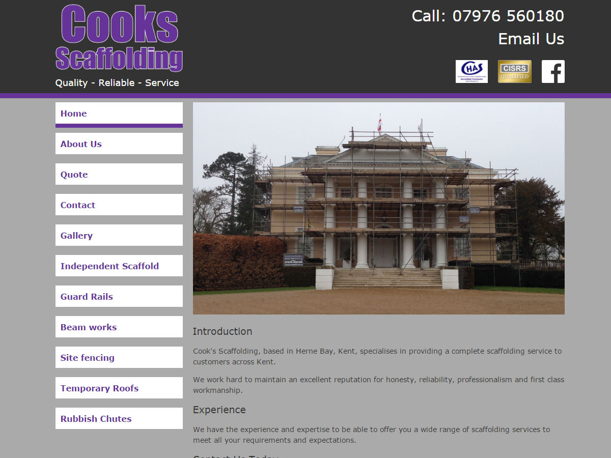 Cooks Scaffolding Website Design