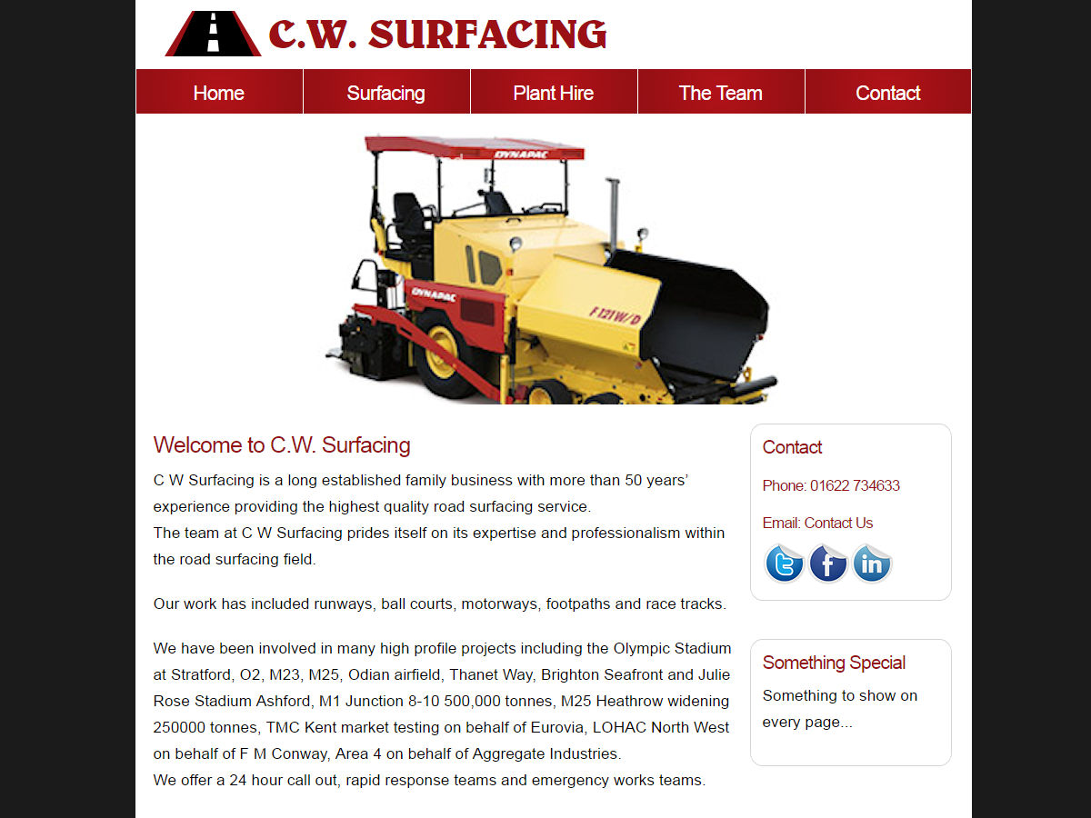 CW Surfacing Website Design