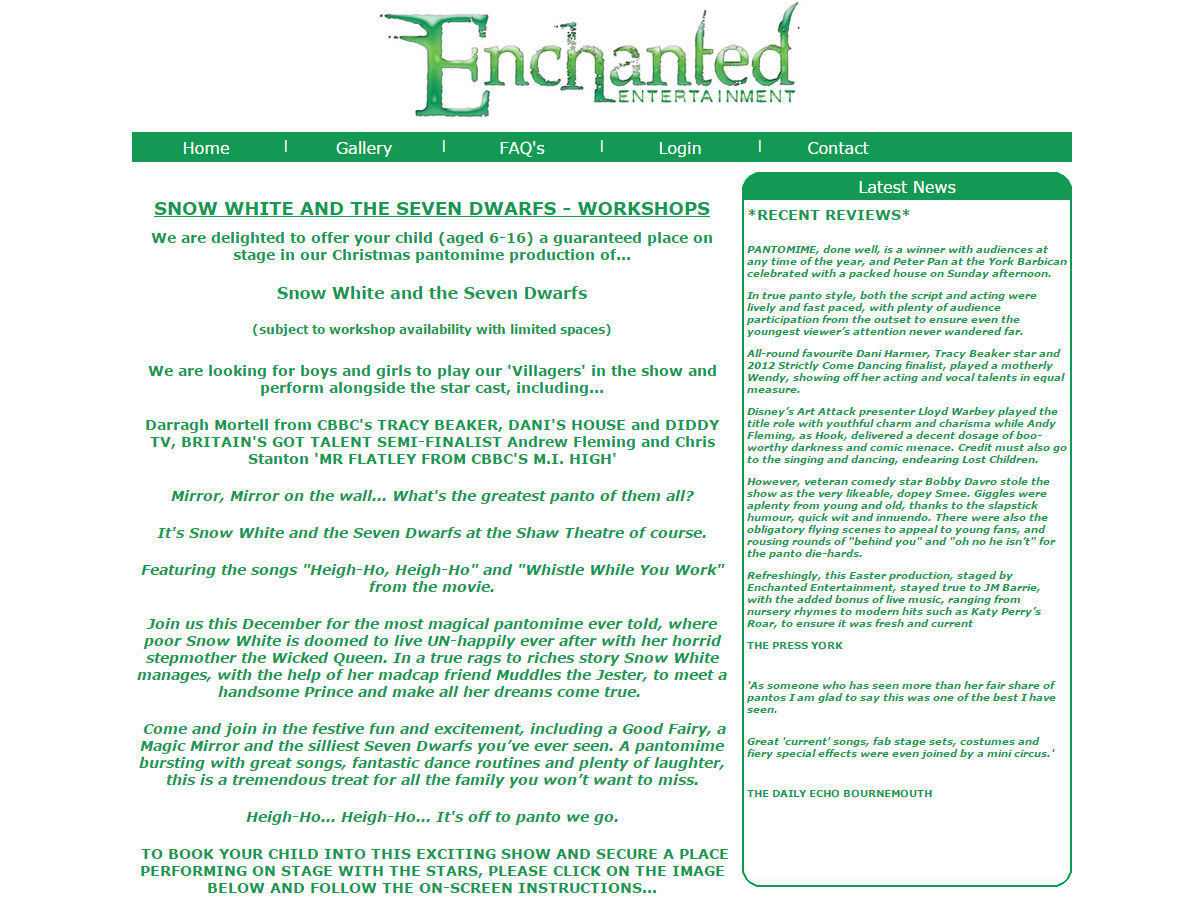 Enchanted Entertainment Website Design