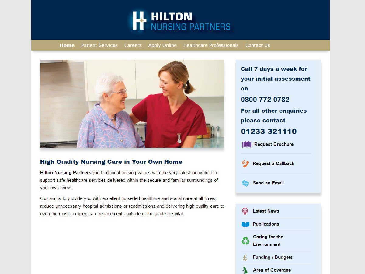 Hilton Nursing Partners Website Design