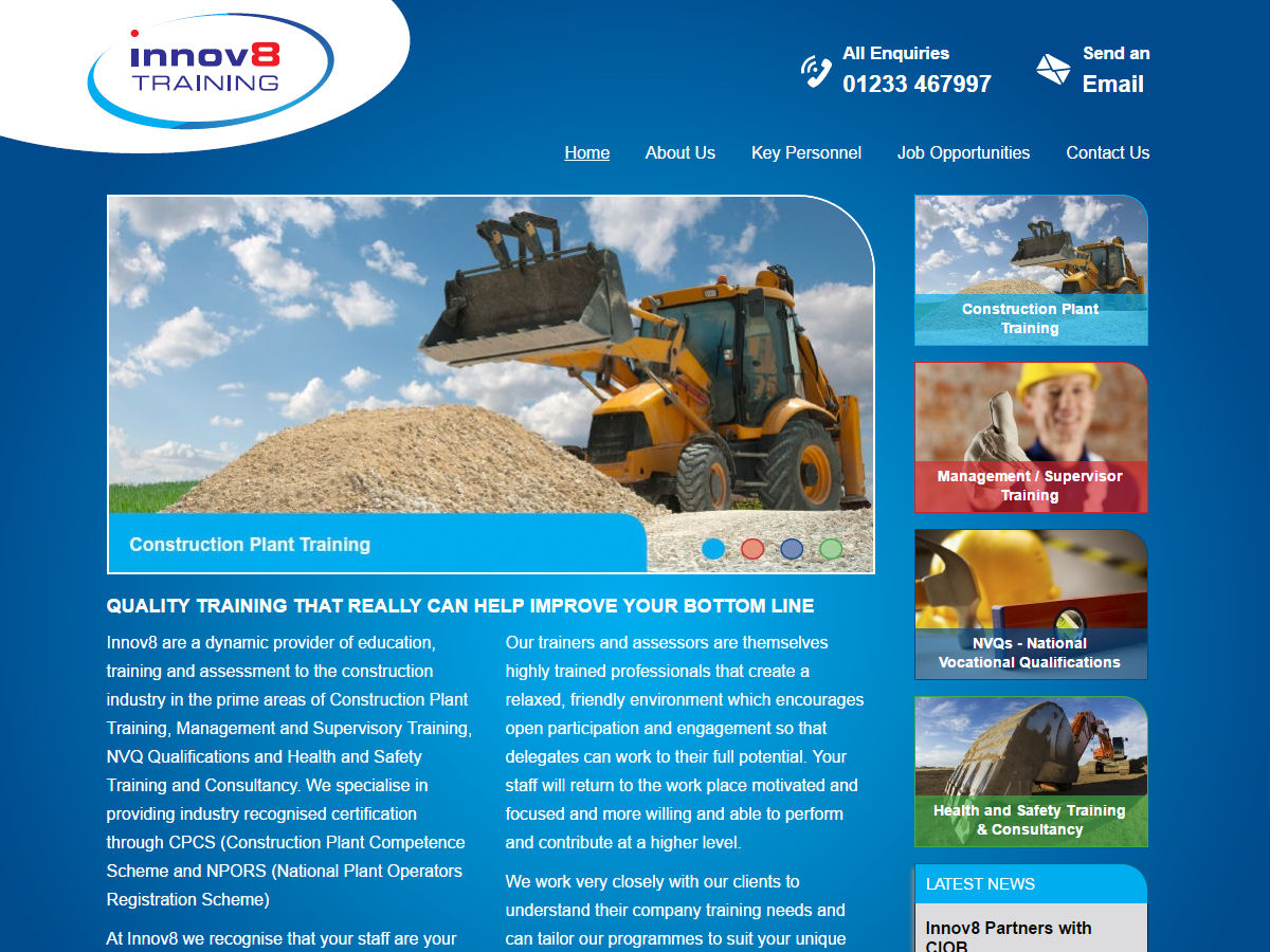 Innov8 Training Website Design