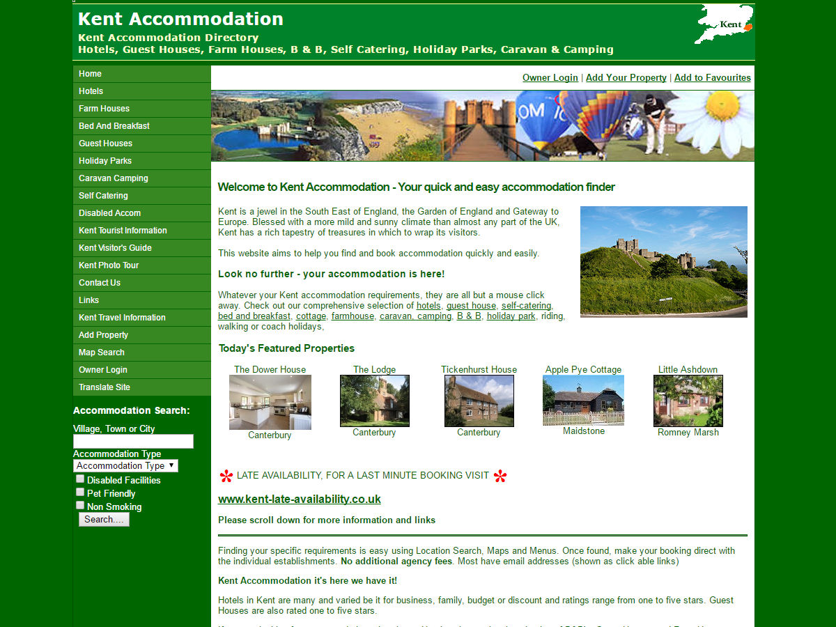 Kent Accommodation Website Design