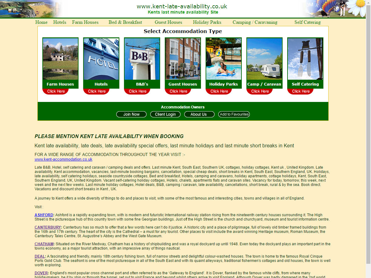 Kent Late Availability Website Design