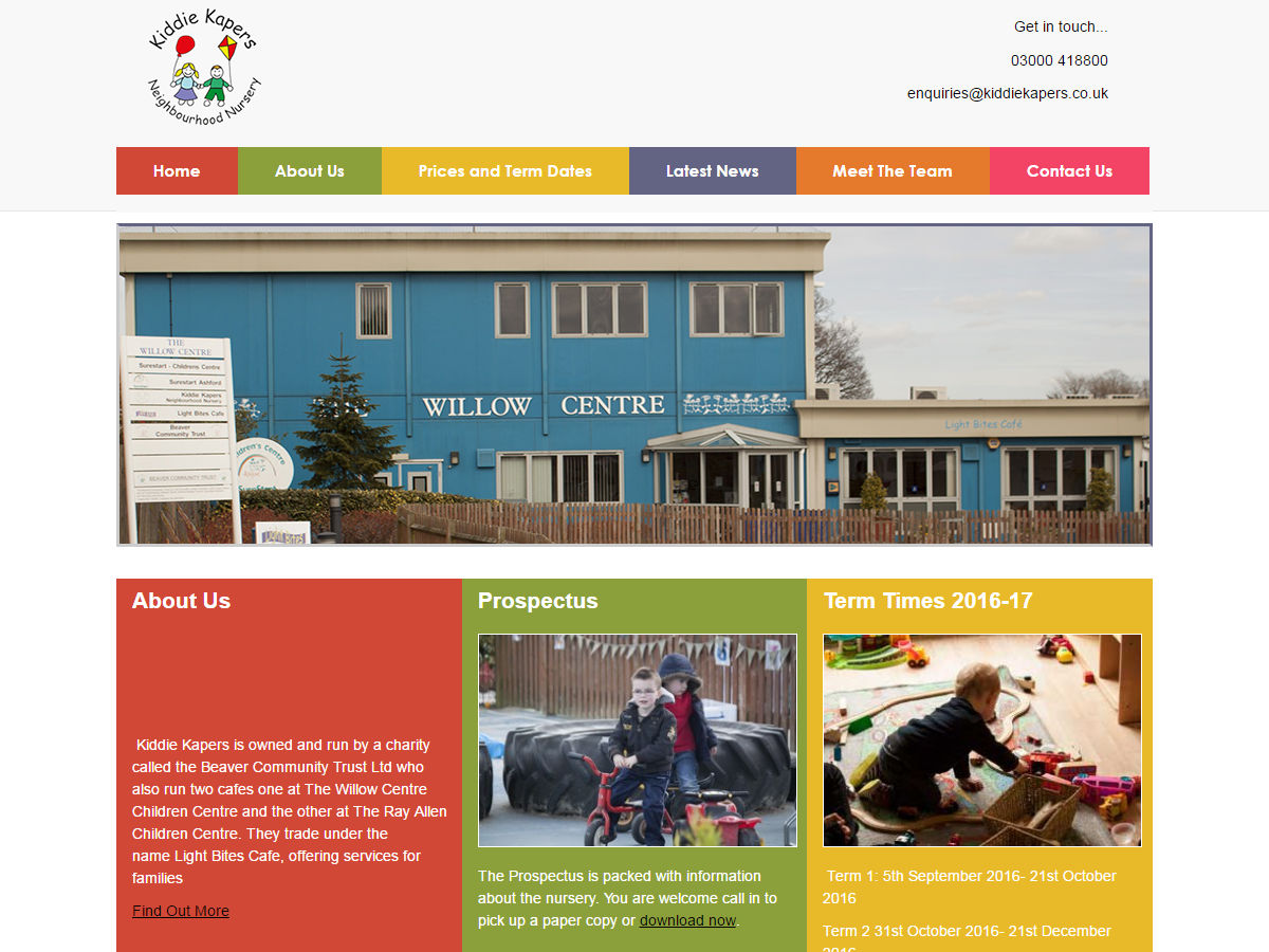 Kiddie Kapers Website Design