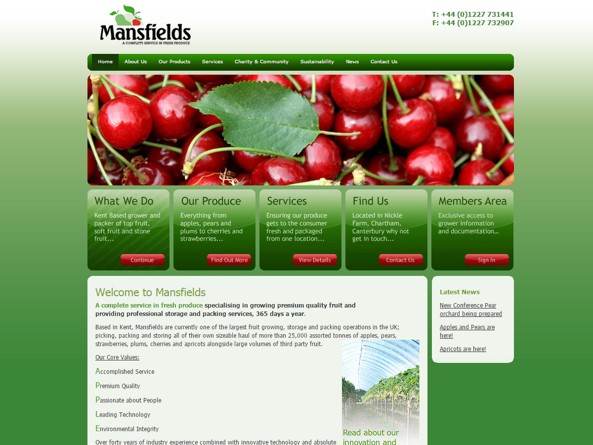 Mansfelds Website Design