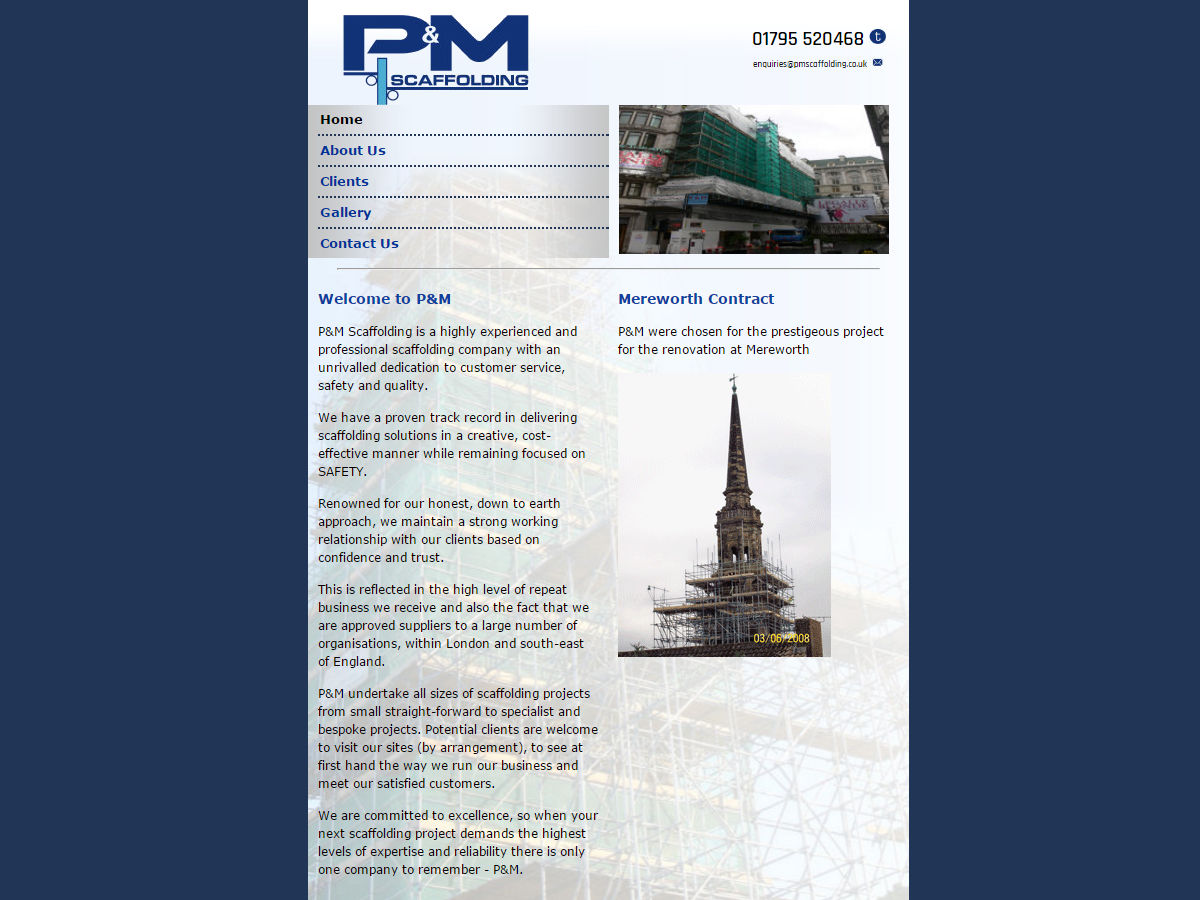 PM Scaffolding Website Design