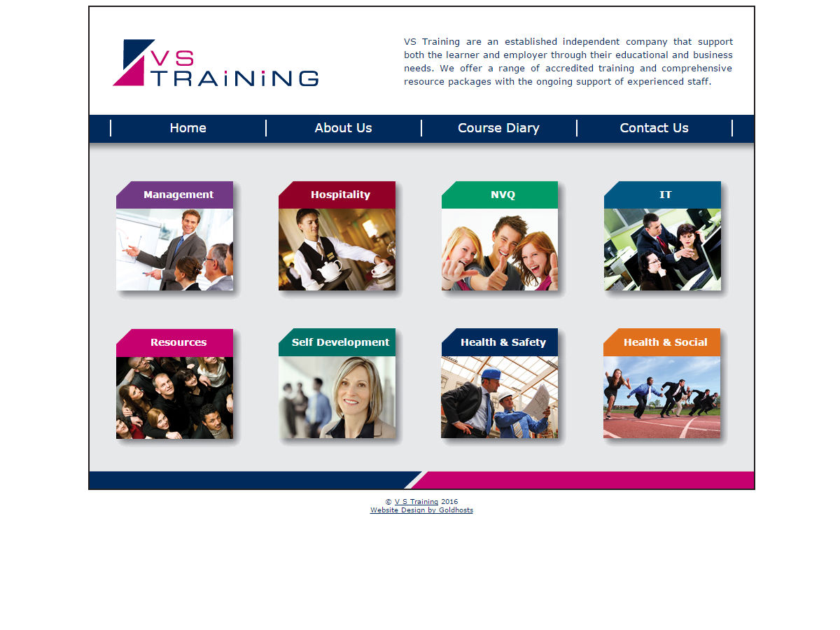 VS Training Website Design
